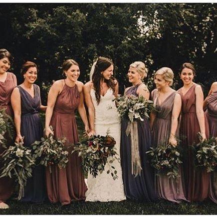 Deep Fall Colored Bridesmaids Dresses Autumn Wedding Brown Purple Mauve Bridesmaiddresses