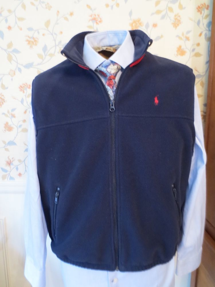 017c2c49c Ralph Lauren Polo Golf Navy Blue Red Pony Fleece Vest Men Large Warm Winter  USA  PoloRalphLauren