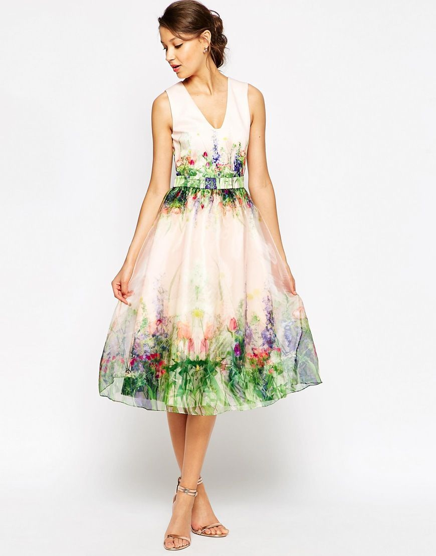 Image of asos tall salon beautiful floral organza prom dress with