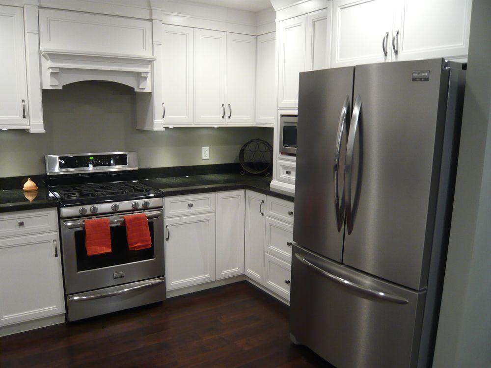 White Cabinets Black Granite Dark Hardwood Stainless Steel