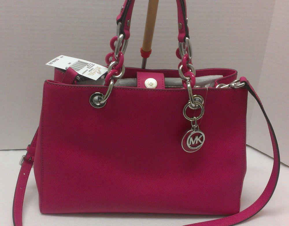 cb922f76042f MICHAEL KORS Cynthia Medium Satchel Saffiano Leather Raspberry $348 BRAND  NEW #MichaelKors #Satchel
