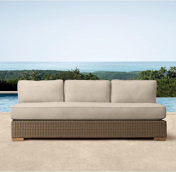 Biscayne Classic Three Seat Armless Sofa Cushions Cushions On