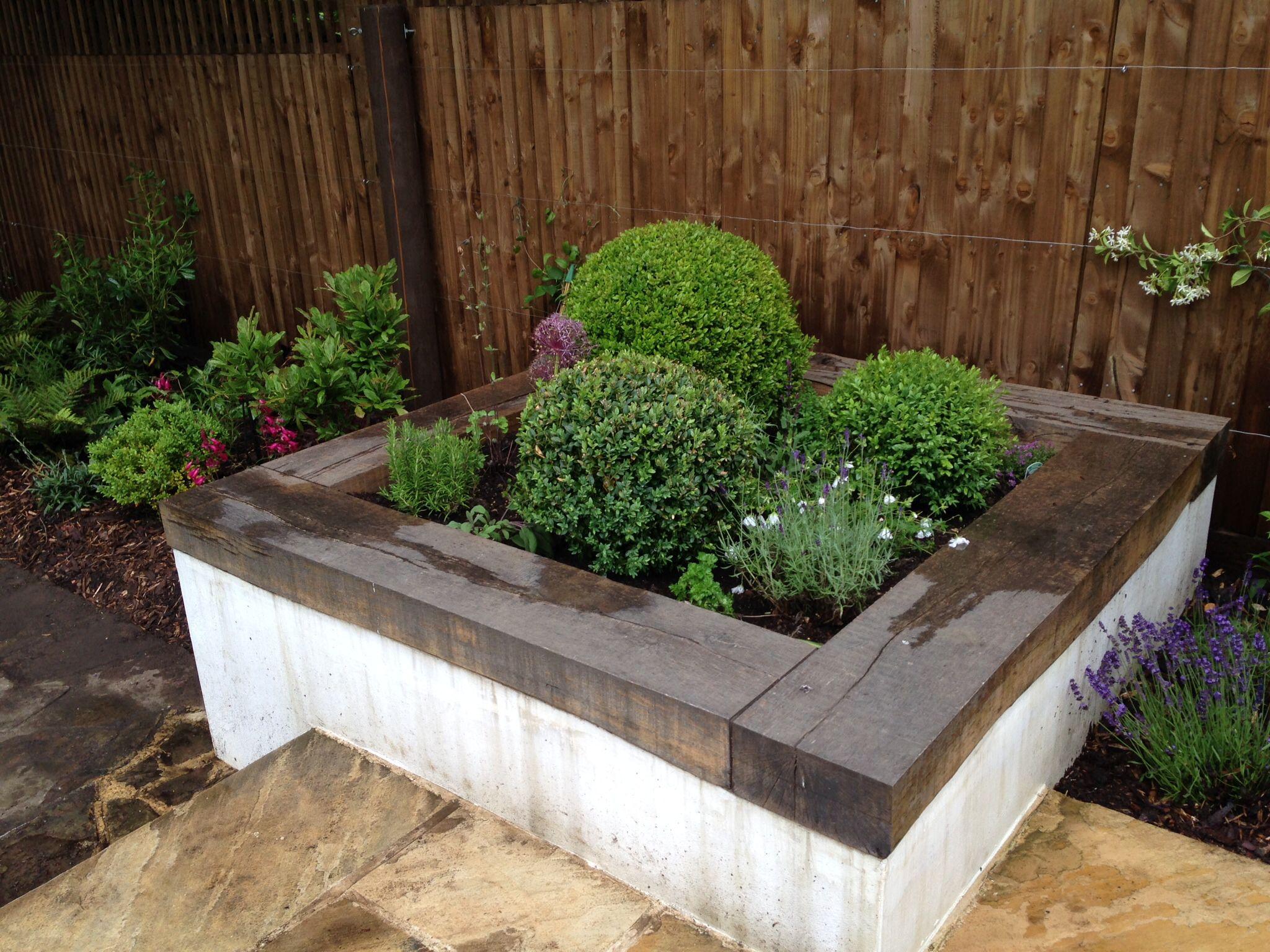 shelley hugh jones garden design raised bed with sleepers