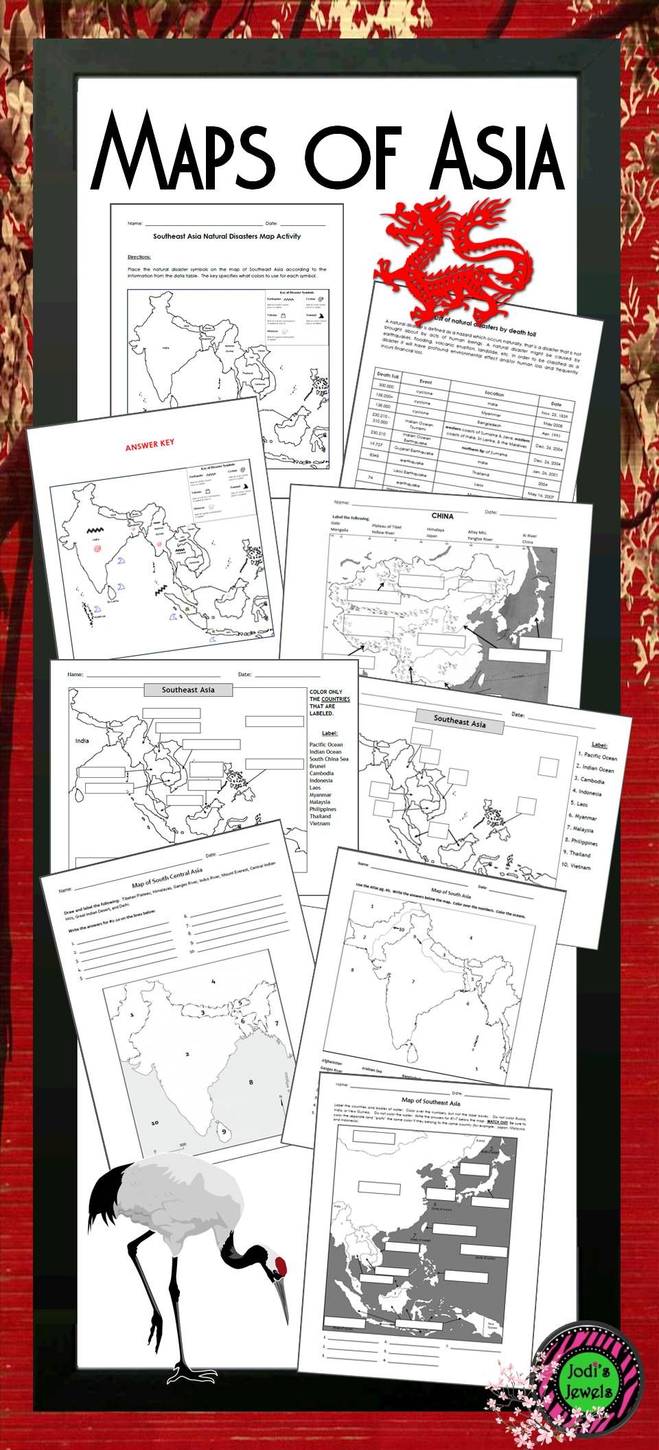 Maps of Asia for Middle School are color and label maps