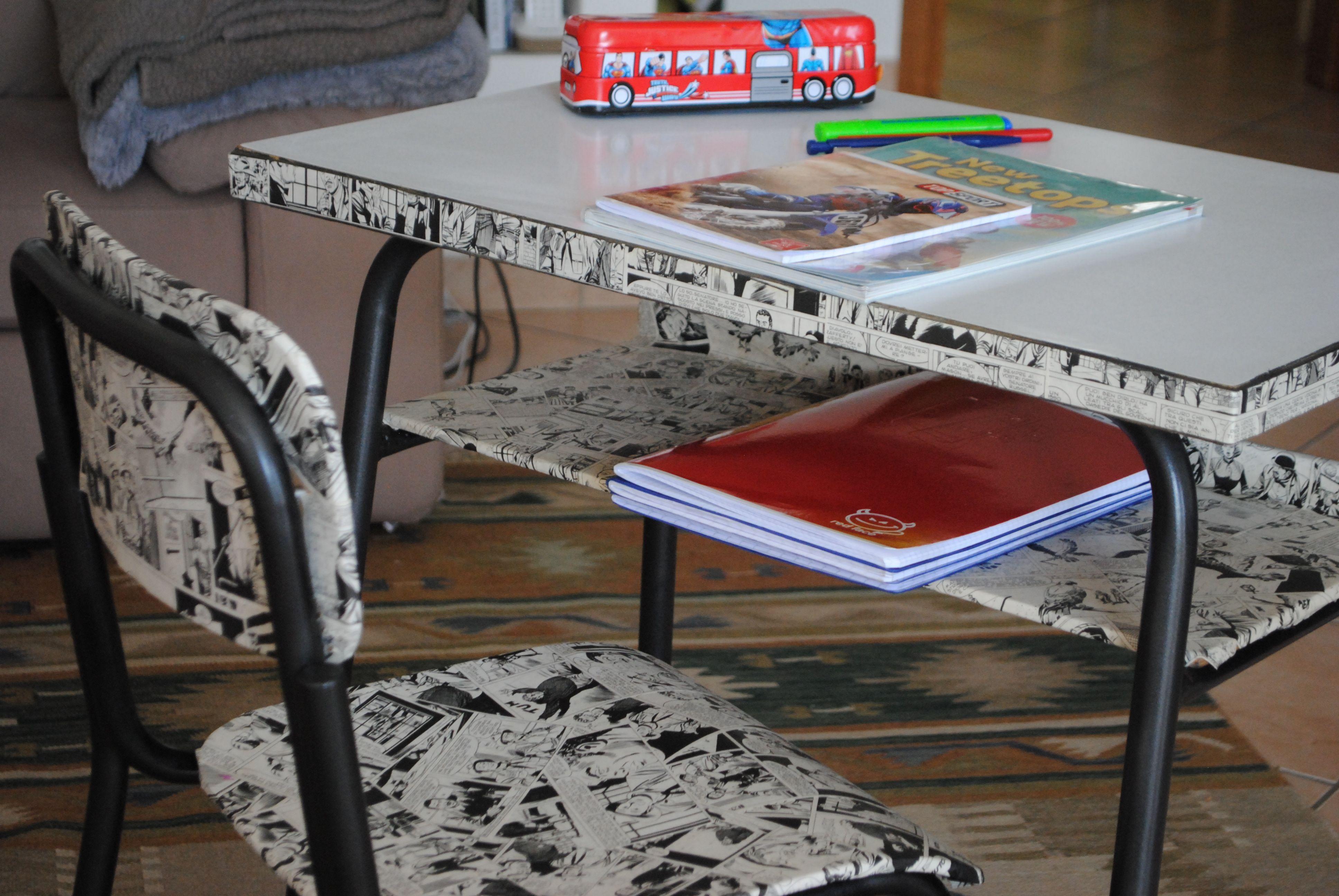 Decoupage Tavolo ~ Recupero vecchio banco scolastico con decoupage fumetto riciclo