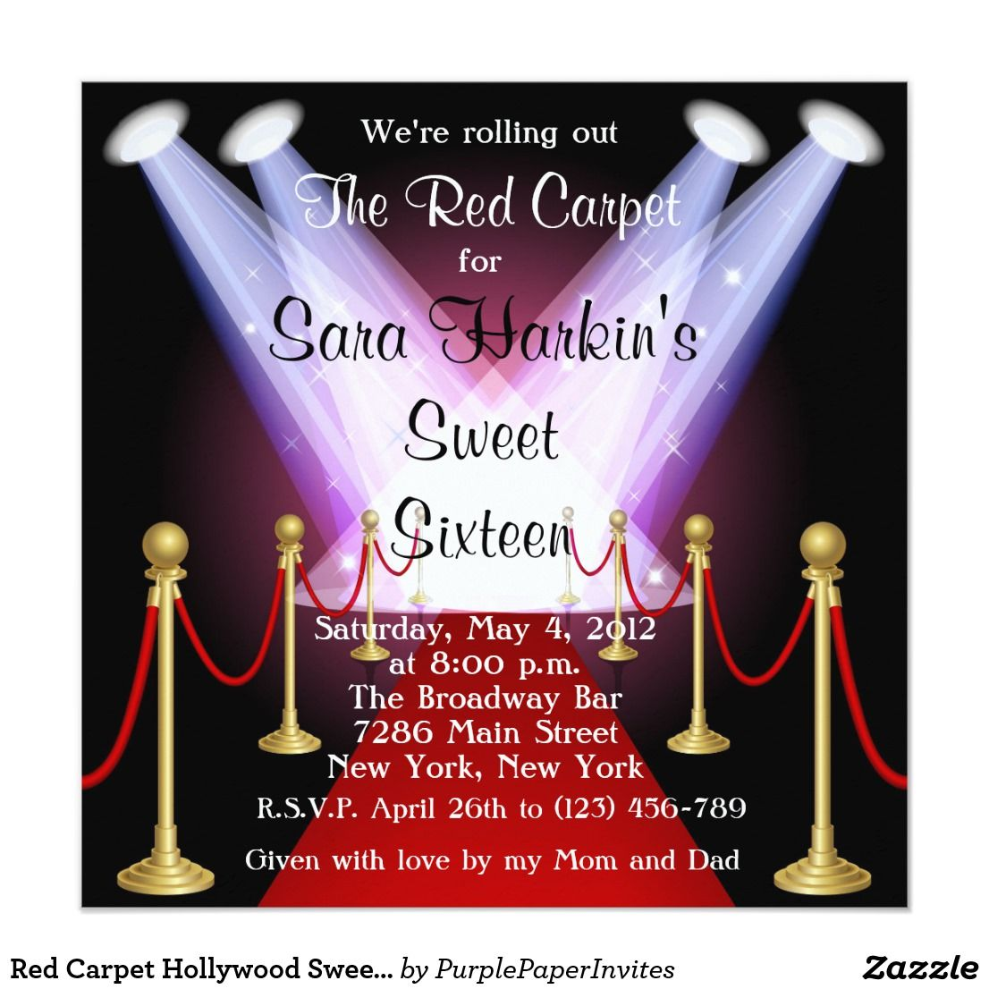 Red Carpet Hollywood Sweet 16 Birthday Invite | Pinterest | Sweet 16 ...
