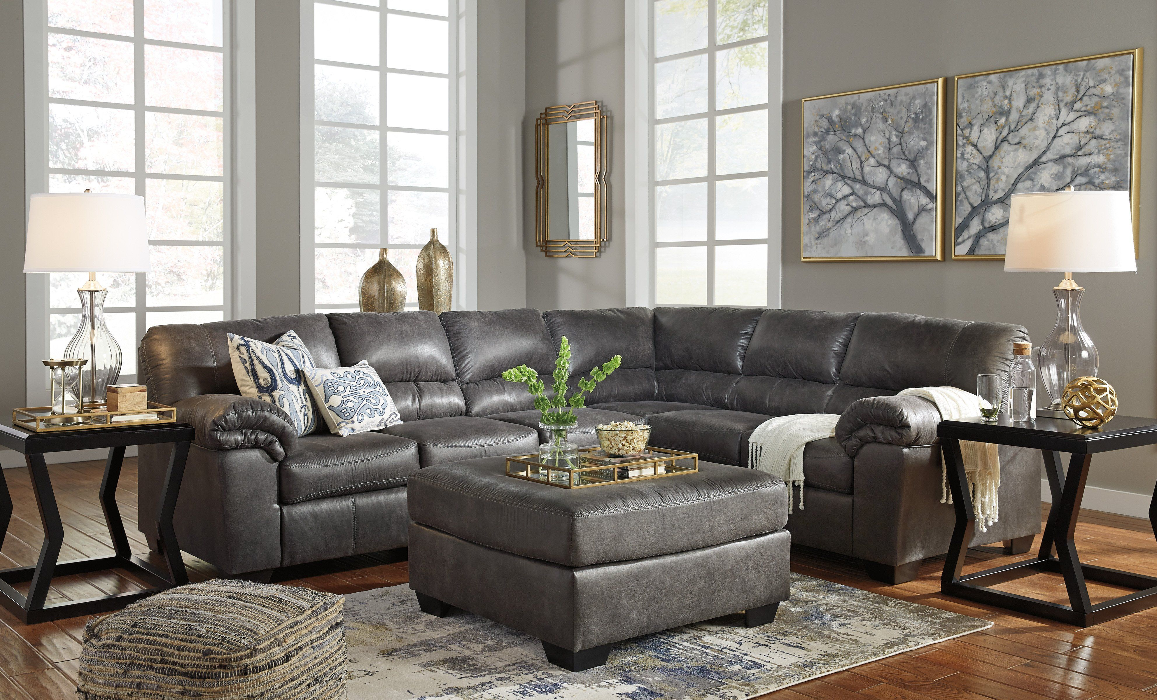 Bladen Slate Sectional Sofa With Ottoman By Ashley Couch With Ottoman Furniture Living Room Sets
