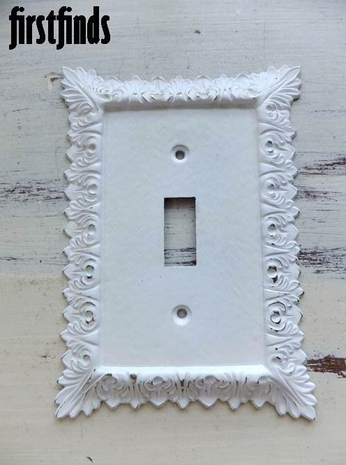 1 Shabby Chic White Electrical Outlet Cover Plate Socket Vintage Metal Wall Switch 12 00