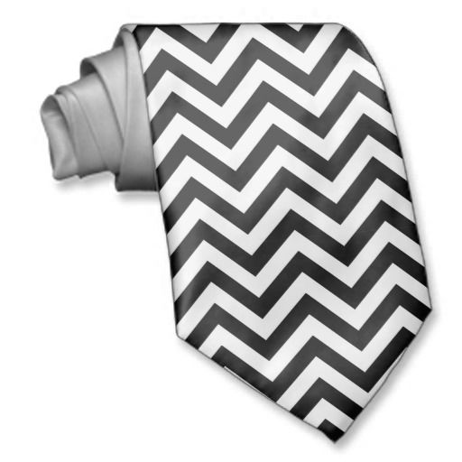 Black and white Zigzag Chevrons Pattern neck tie.A cool gift for him on any occasion or on holidays such as Christmas.