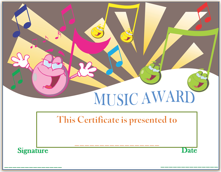 Smiley face music award certificate award certificate templates smiley face music award certificate yadclub Choice Image