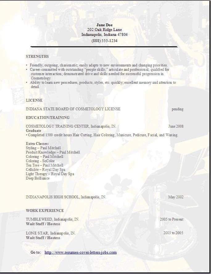 Free Cosmetology Resume Sample -   jobresumesample/783/free - cosmetologist resume sample