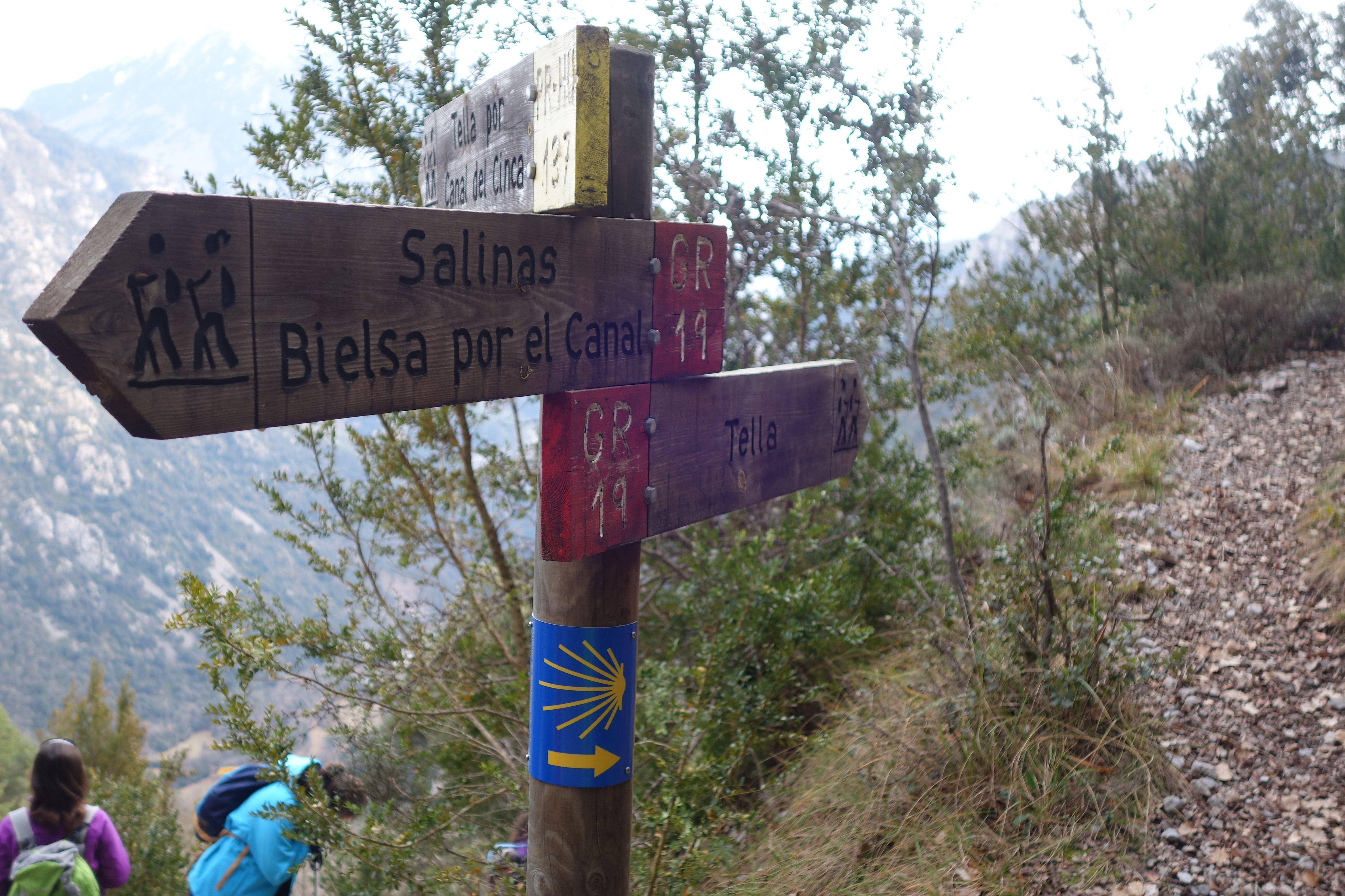 Volvemos a tomar el Canal del Cinca por el PR-HU-137, dejando a la derecha el GR-19 hacia Tella