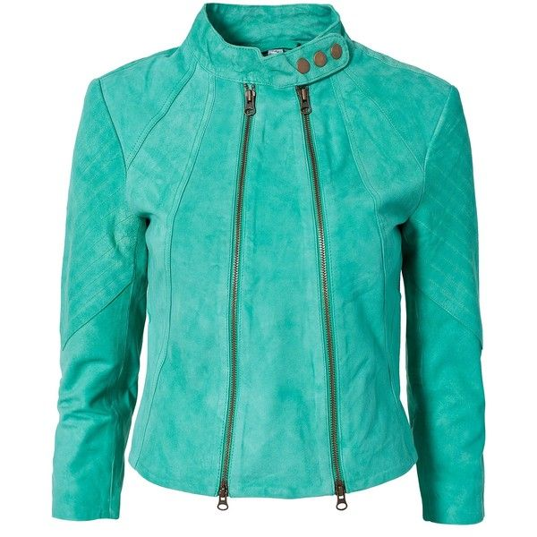 Very By Vero Moda Coleen Leather Jacket ($79) ❤ liked on Polyvore featuring outerwear, jackets, coats, coats & jackets, dark green, tall jacket, thin leather jacket, thin jackets, blue jackets and real leather jacket