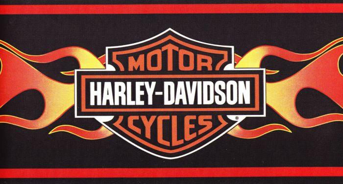 Crest Red Orange Flames Harley Wallpaper Border Wall