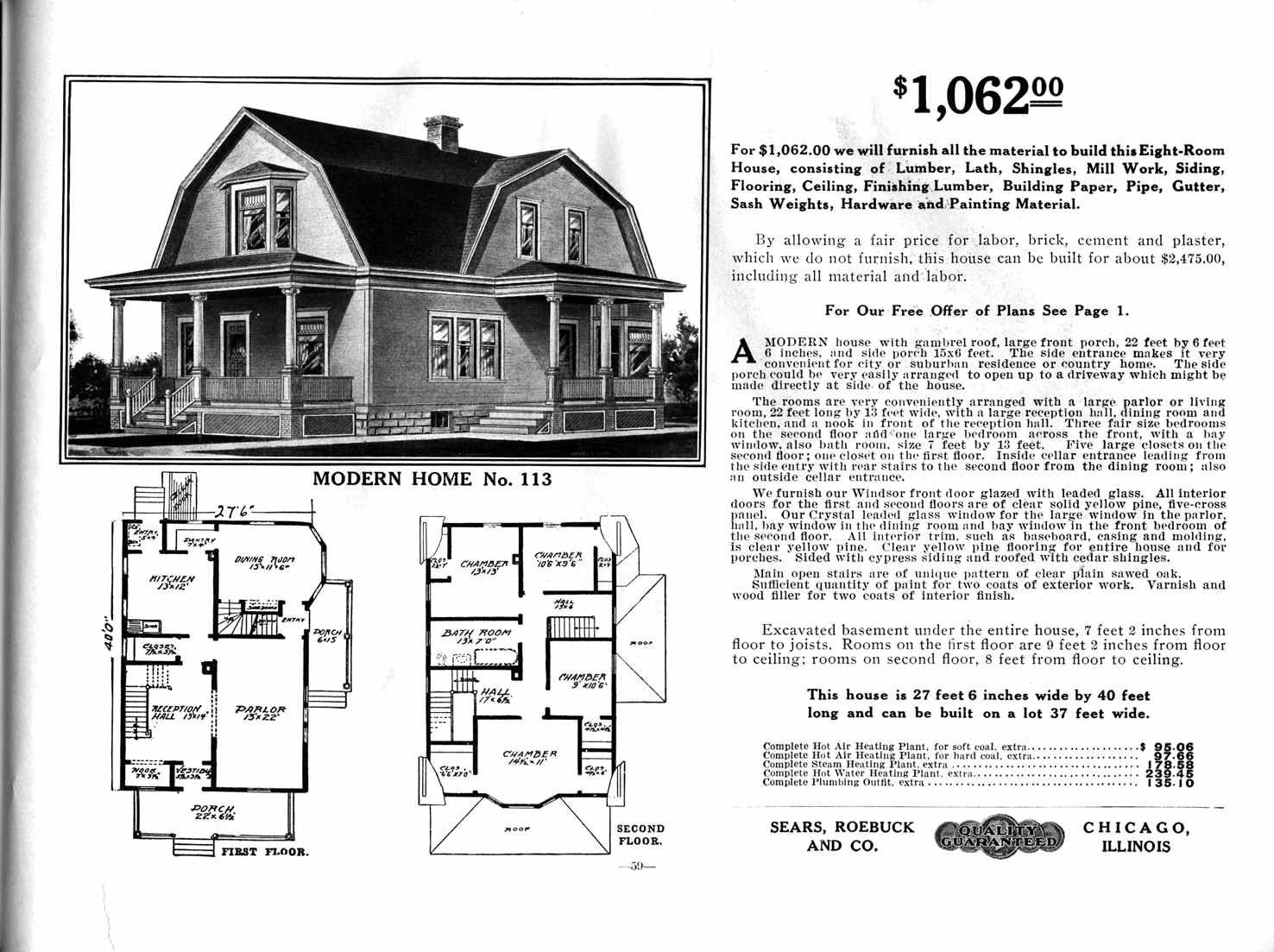 Sears Home Model No. 113; ($1,062 To $1,270)