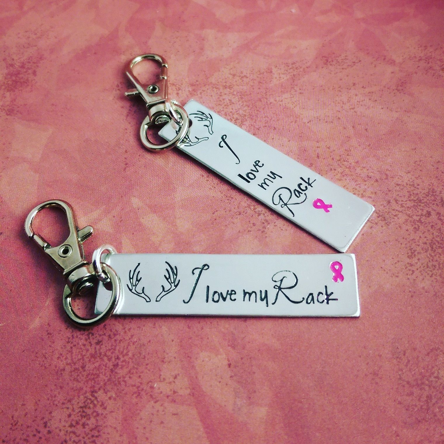 I love my rack keychain - Breast Cancer Awareness Jewelry - Hand Stamped