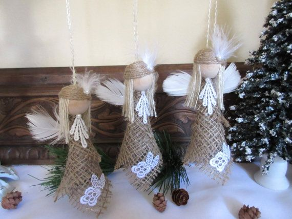 Christmas Ornament - Burlap Angel - Rustic Ornament - Angel