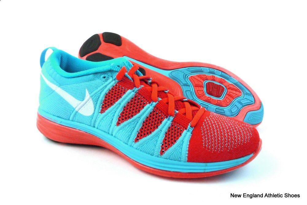 buy popular 2cb93 279cd Nike women Flyknit Lunar 2 running shoes size 10 Bright Crimson   White    Blue