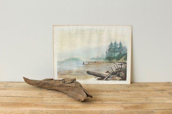 Fog on the Beach, Phil Austin, Vintage Watercolor Art Print ...