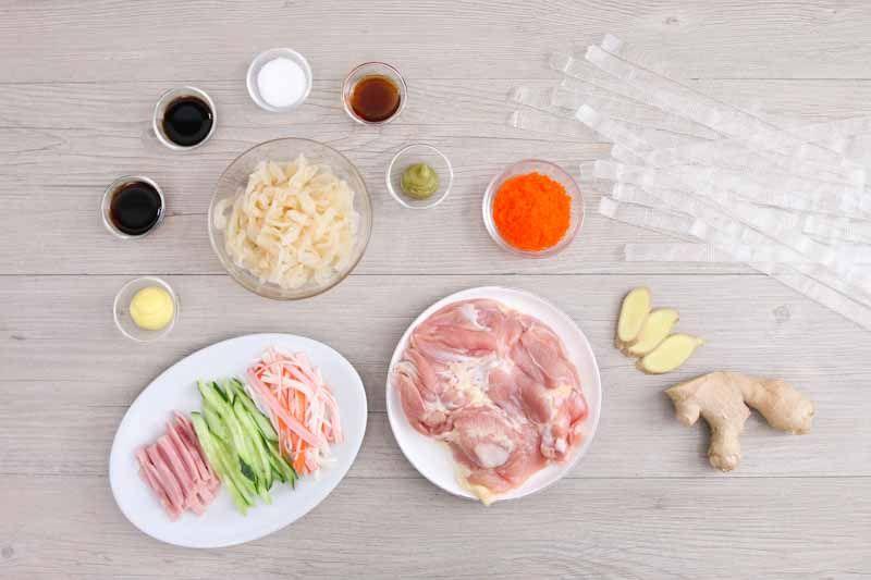 芥末雞絲粉皮   Asian noodles, Asian soup noodle, Shredded chicken