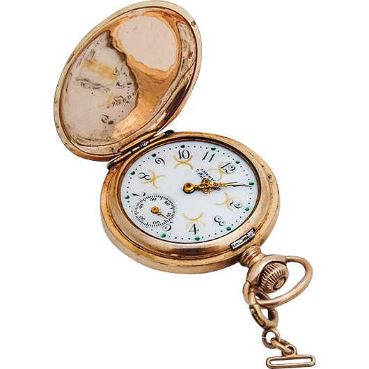 American Waltham Ladies Pocket Watch 14 K Gold Case Engraved Cover Star Diamond Inset 1894 Pocket Watch Pocket Watch Antique Luxury Watches For Men