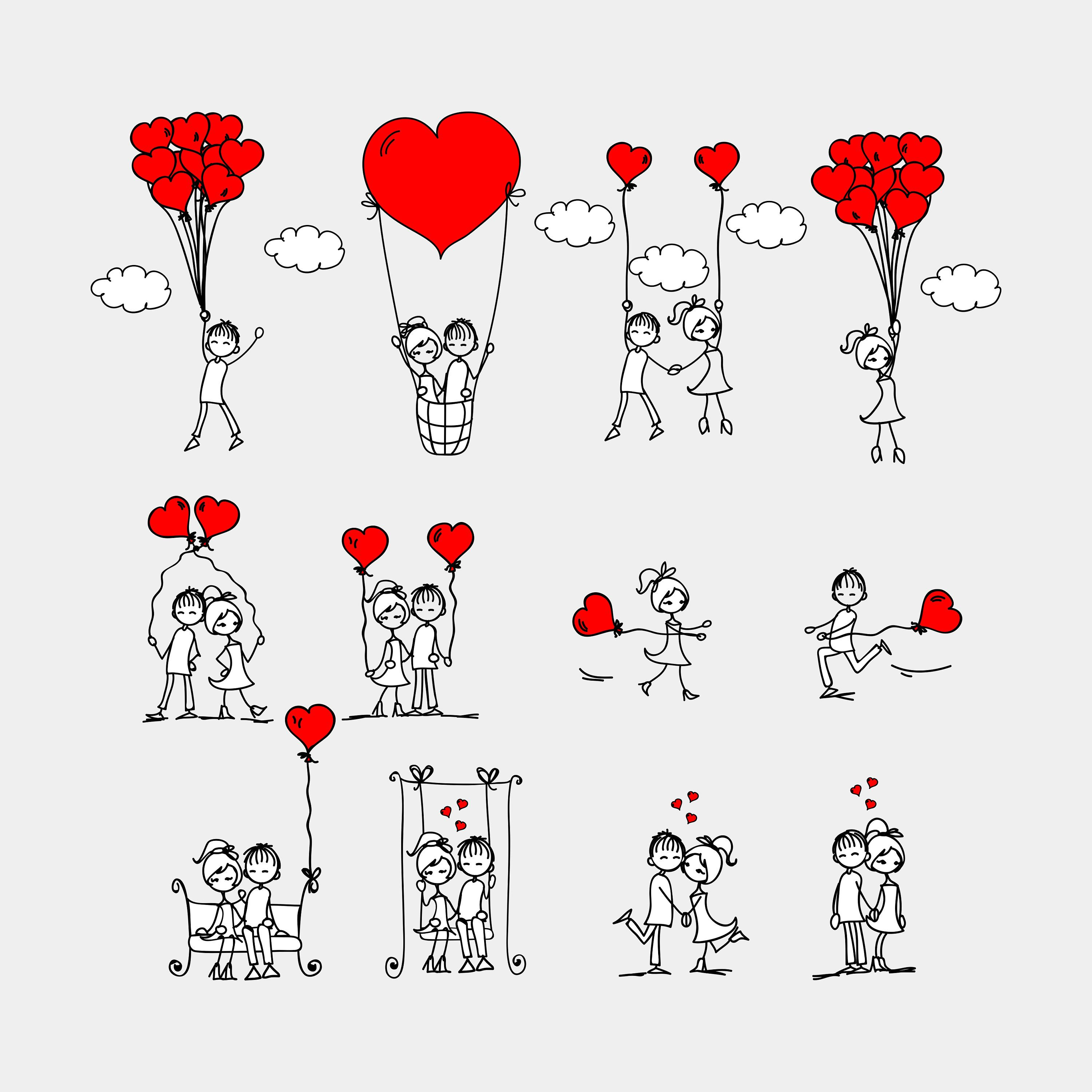 Download Couple Set Svg, heart, cute valentines, love svg, hand ...