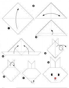 un origami facile pour r aliser un lapin pour les petits. Black Bedroom Furniture Sets. Home Design Ideas