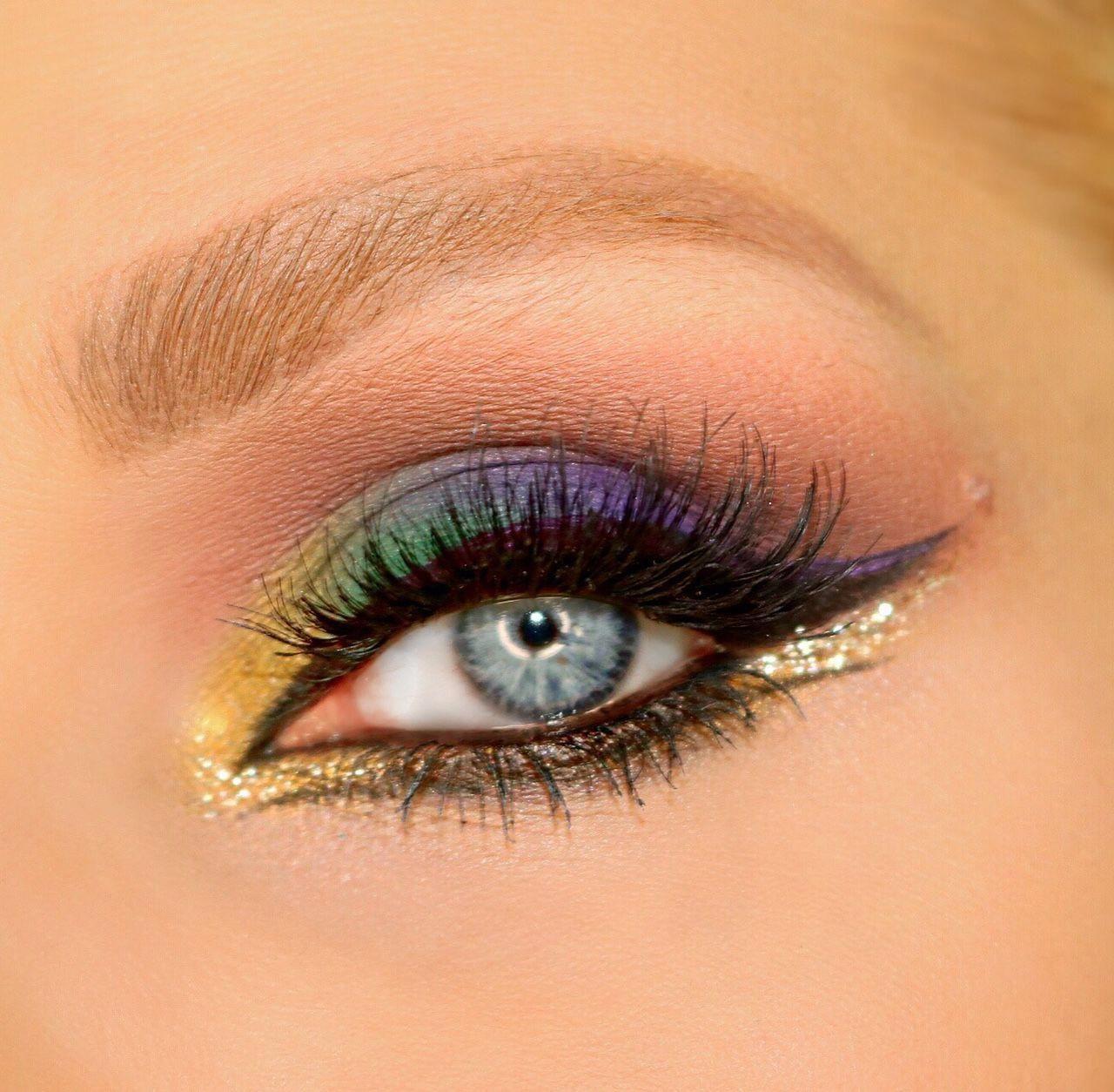 Mardi Gras Eye Makeup Exotic Purple Green And Gold Glitter Eye