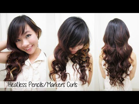 heatless curls waves l how to curl your hair with markers pencils