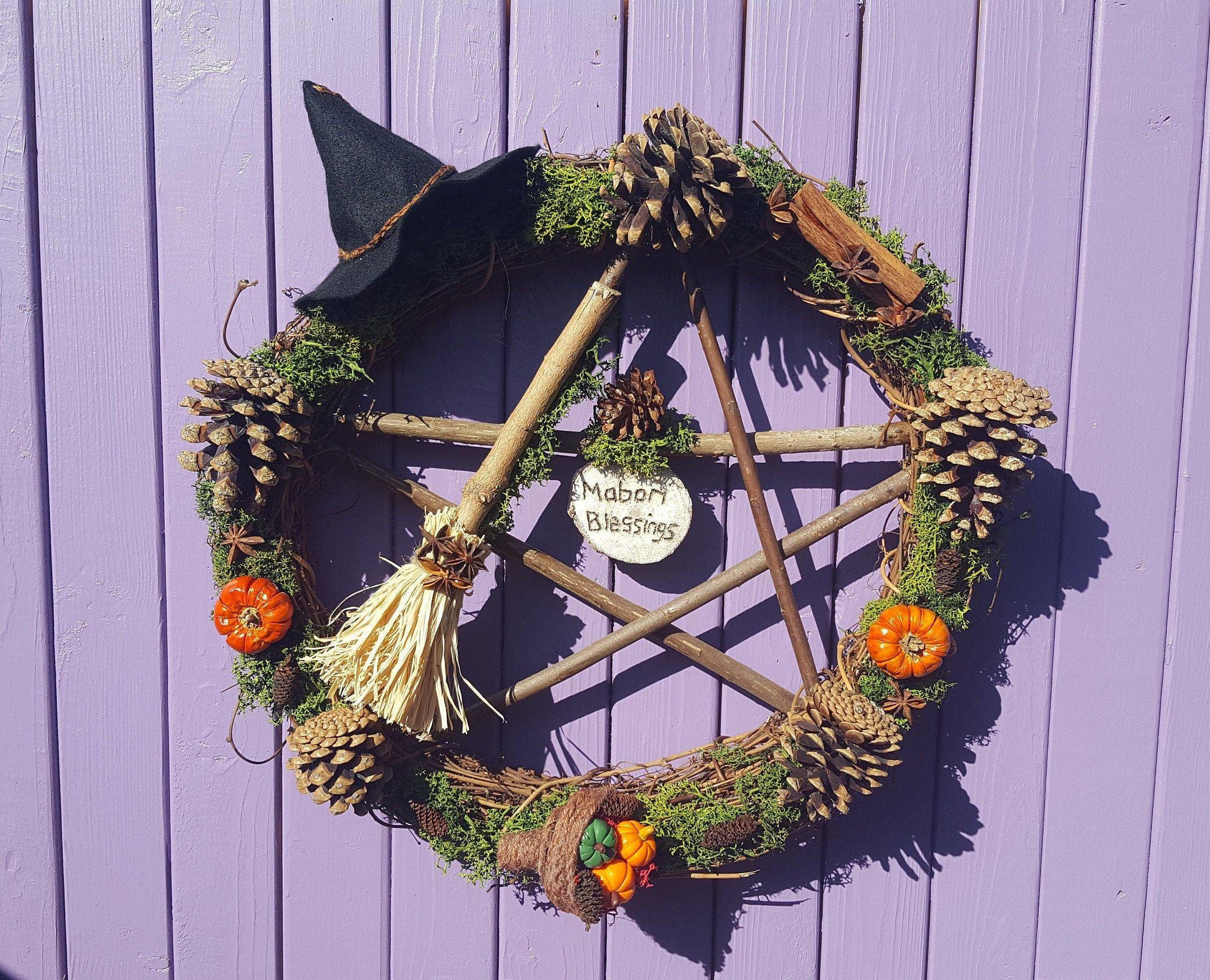 Autumn Wreath, Mabon Pentagram, Wooden Pentacle, Cinnamon Sticks, Black Witch Felt Hat, Witches Broomstick, Autumnal Equinox, Pine Cone