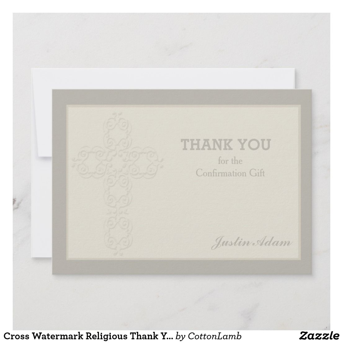 Cross Watermark Religious Thank You Notecard Thank You Cards