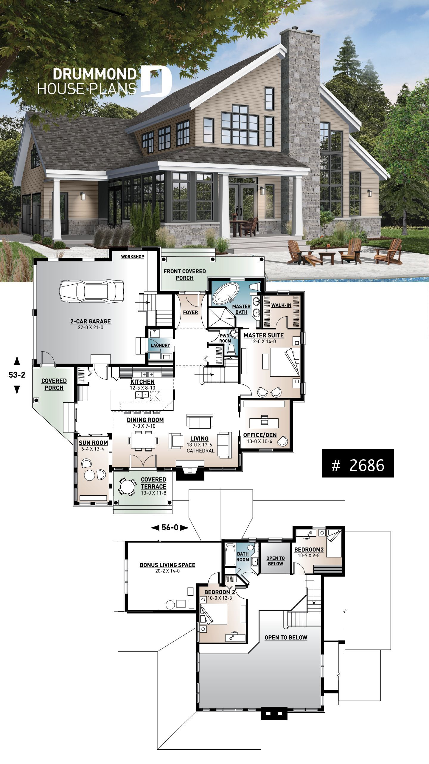 2 Car Garage Country House Plan Of 3 Bedrooms Sun Room Home Office Huge Kitchen I Country Cottage House Plans French Country House Plans Cottage House Plans