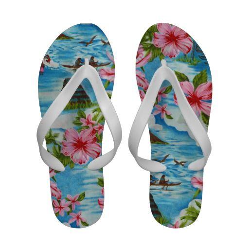560ace884 Hawaiian Scenes Flip Flops