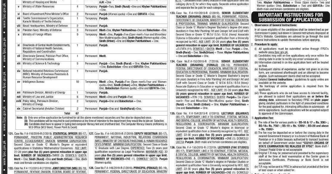 APS Jobs in FPSC FPSC Jobs 2019 Latest FPSC Jobs in Pakistan