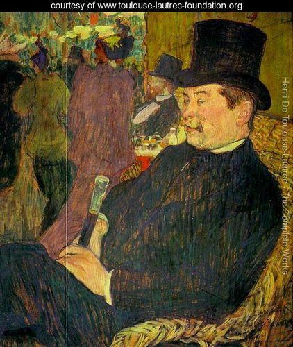 Toulouse Lautrec Painting on Vintage Postcard Portrait of Mr Delaporte