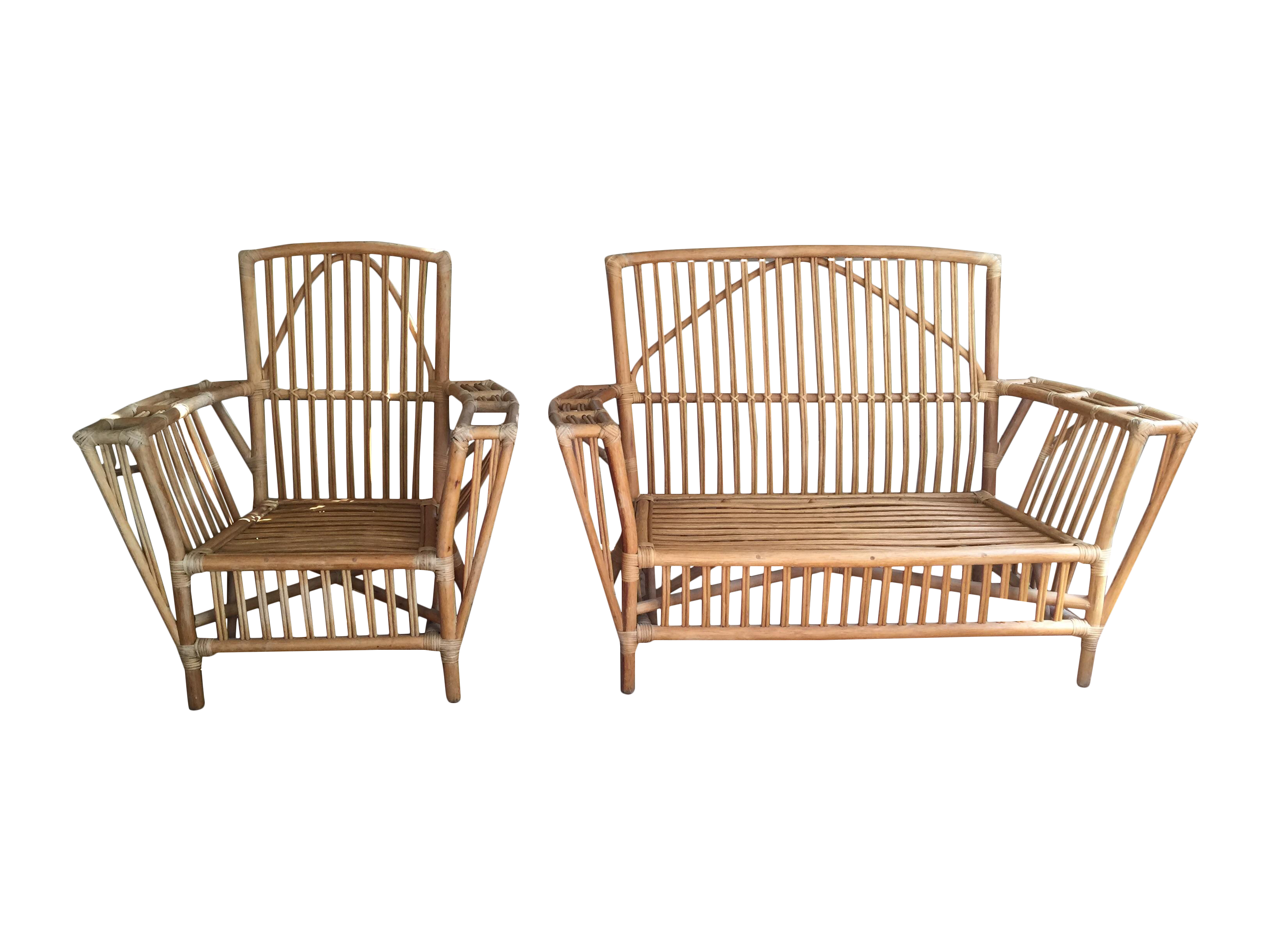 Stick Wicker Bamboo Lounge Chair