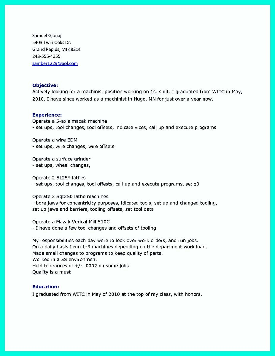 Nice Writing Your Qualifications In Cnc Machinist Resume A Must
