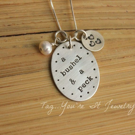 Hand stamped I love you a bushel and a peck I love you spoon.