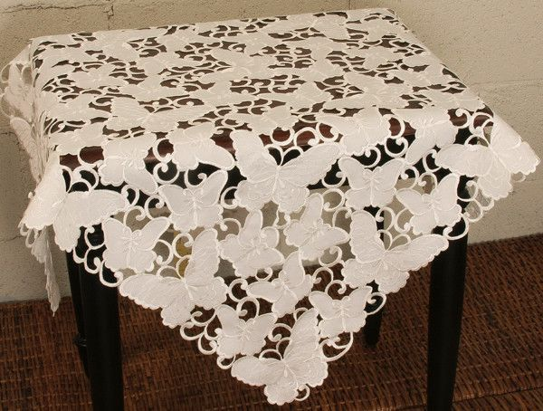 Mariposa Embroidered Cutwork Table Topper