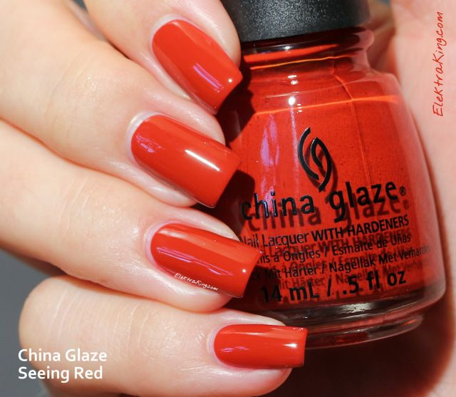 China Glaze Seeing Red Seeing Red is a brown-hued red creme. It's opaque in only 1 coat and once again I gotta say that China Glaze makes amazing reds. The formula is excellent and application is incredibly smooth. I applied 2 coats (as I always do) + Top Coat