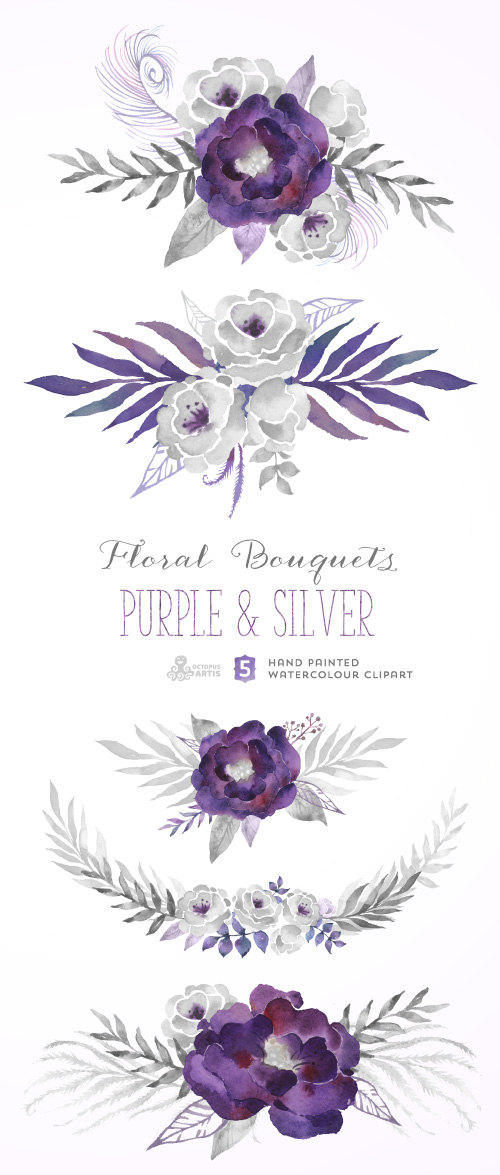 Purple Silver Floral Bouquets Digital Clipart Hand Painted Watercolour Flowers Wedding Diy Elements Gray Invite Printable Grey