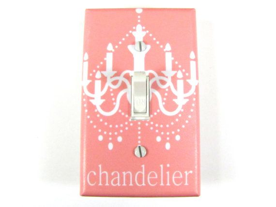 Pink Chandelier Light Switchplate Cover  Choose par twowhiteowls, $10.00