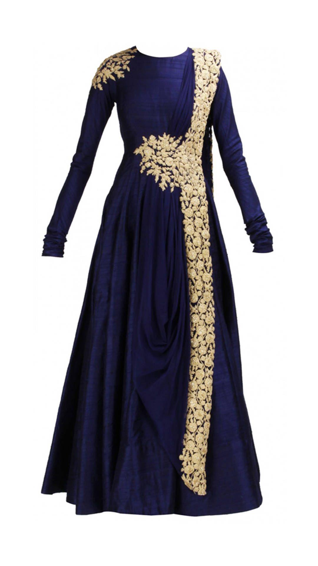 Raw Silk Dark Blue Prom Dress – Fashion design images