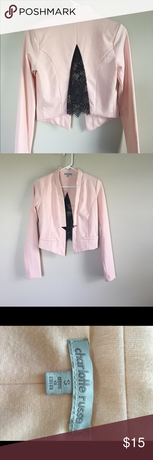 Trendy Crop Jacket Trendy crop peach and black lace jacket size S great condition. Charlotte Russe Jackets & Coats Blazers