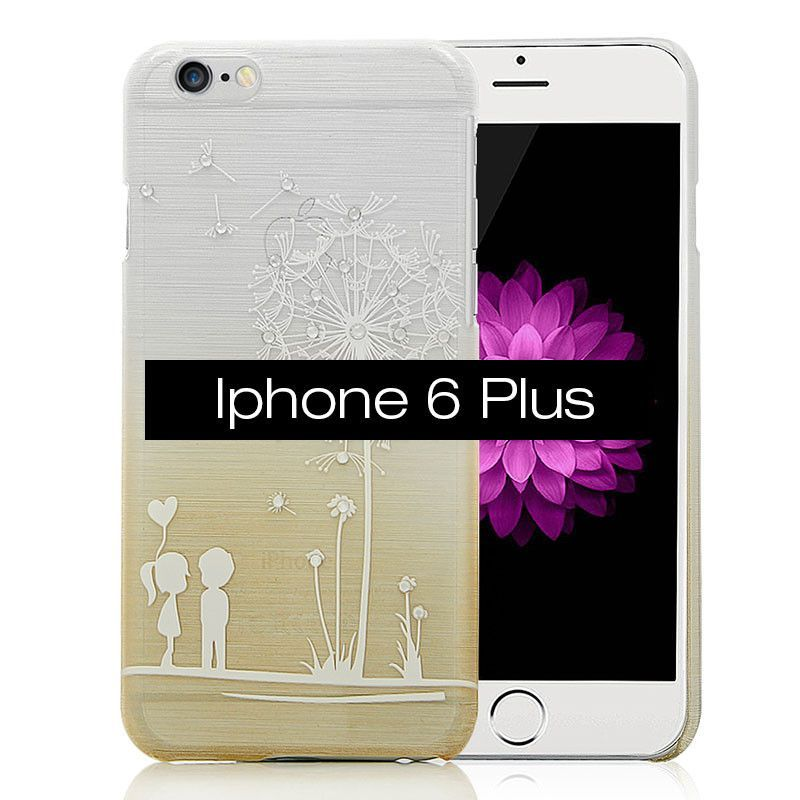 TURATA [Luxury] Handmade Bling Crystal Diamonds Dandelion Design Brushed Metal Hard Plastic Cover Case for iPhone 6 / 6 Plus