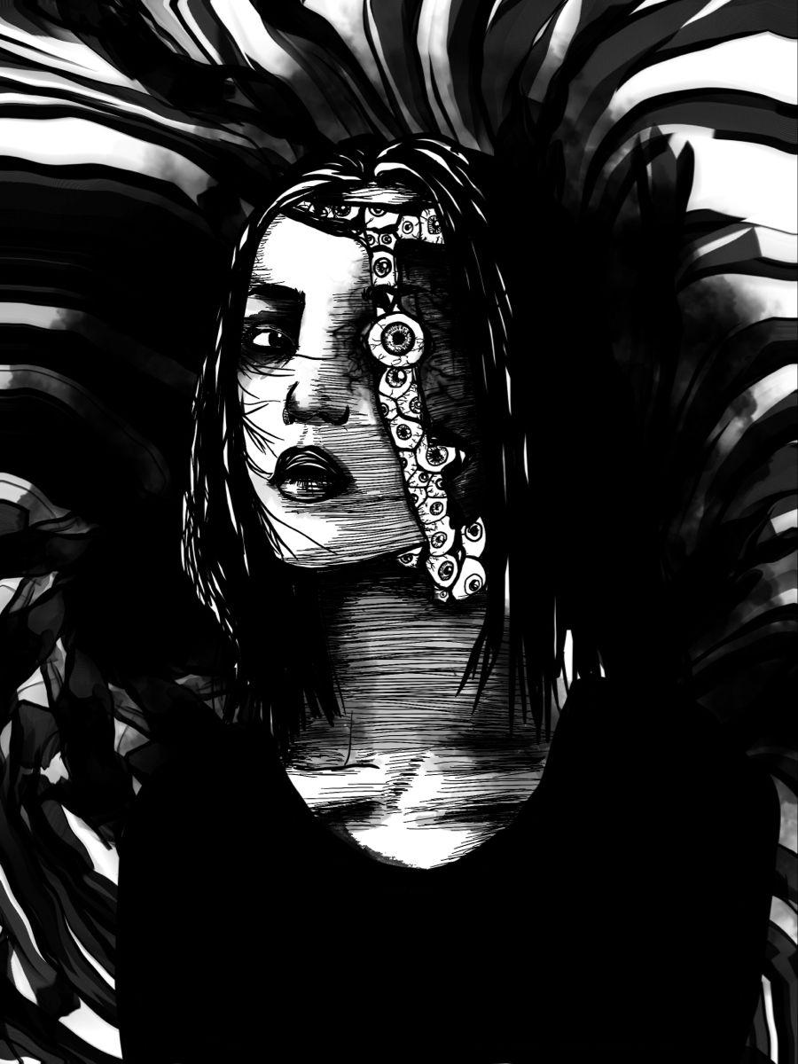 insta : @water_trash 🕸🕷🕸 #art #shintarokagoinspired #goro #horrorart #darksurrealism #darkart #horror #gothic #gothicart #digitalart #eyeballart #mangaart #illustration#linework #markmaking