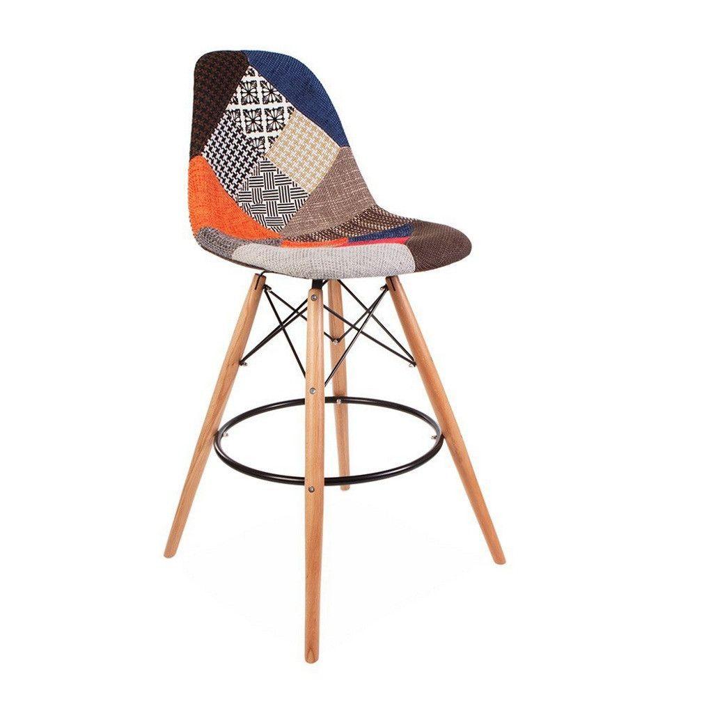 tabouret de bar style eames avec pieds eiffel patchwork. Black Bedroom Furniture Sets. Home Design Ideas