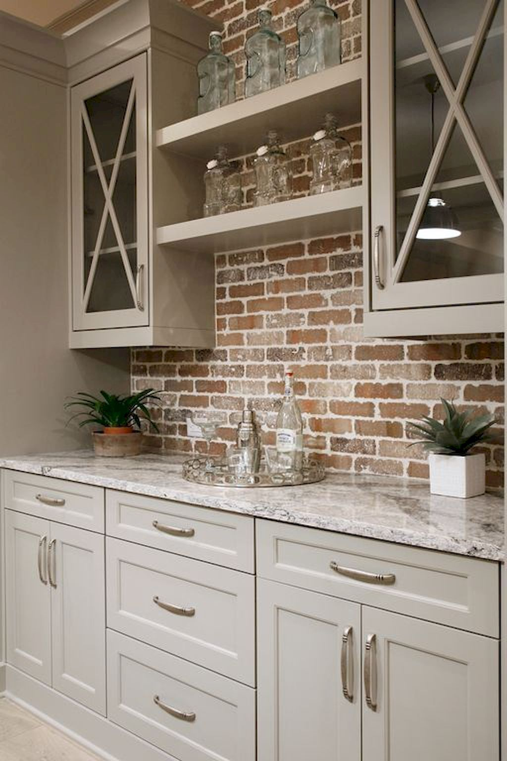 Best Love These Warm Gray Or Greige Kitchen Cabinets With Brick 400 x 300
