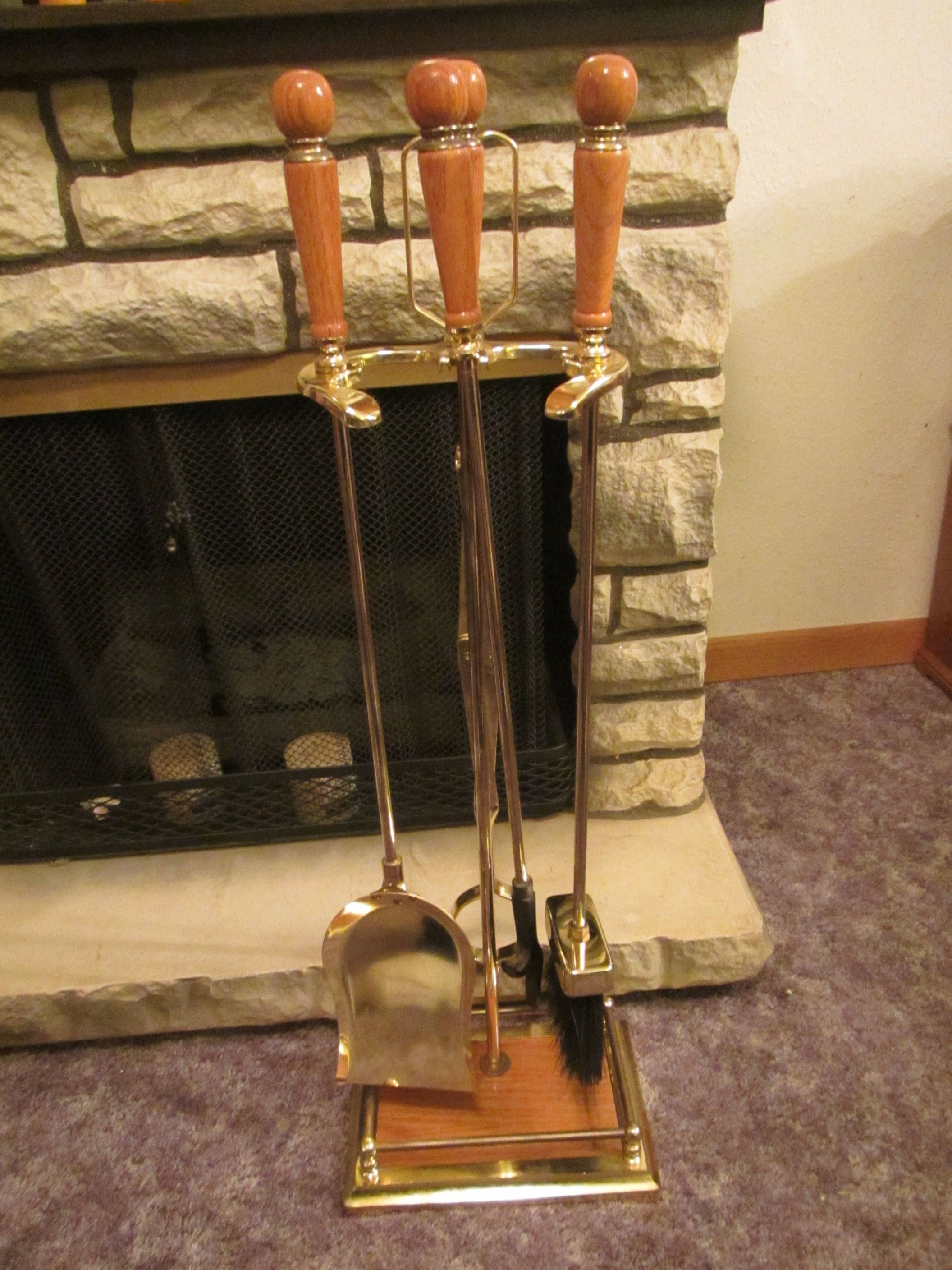 Fireplace Tool Set Brass Shovel Brush Tongs And Poker In Stand