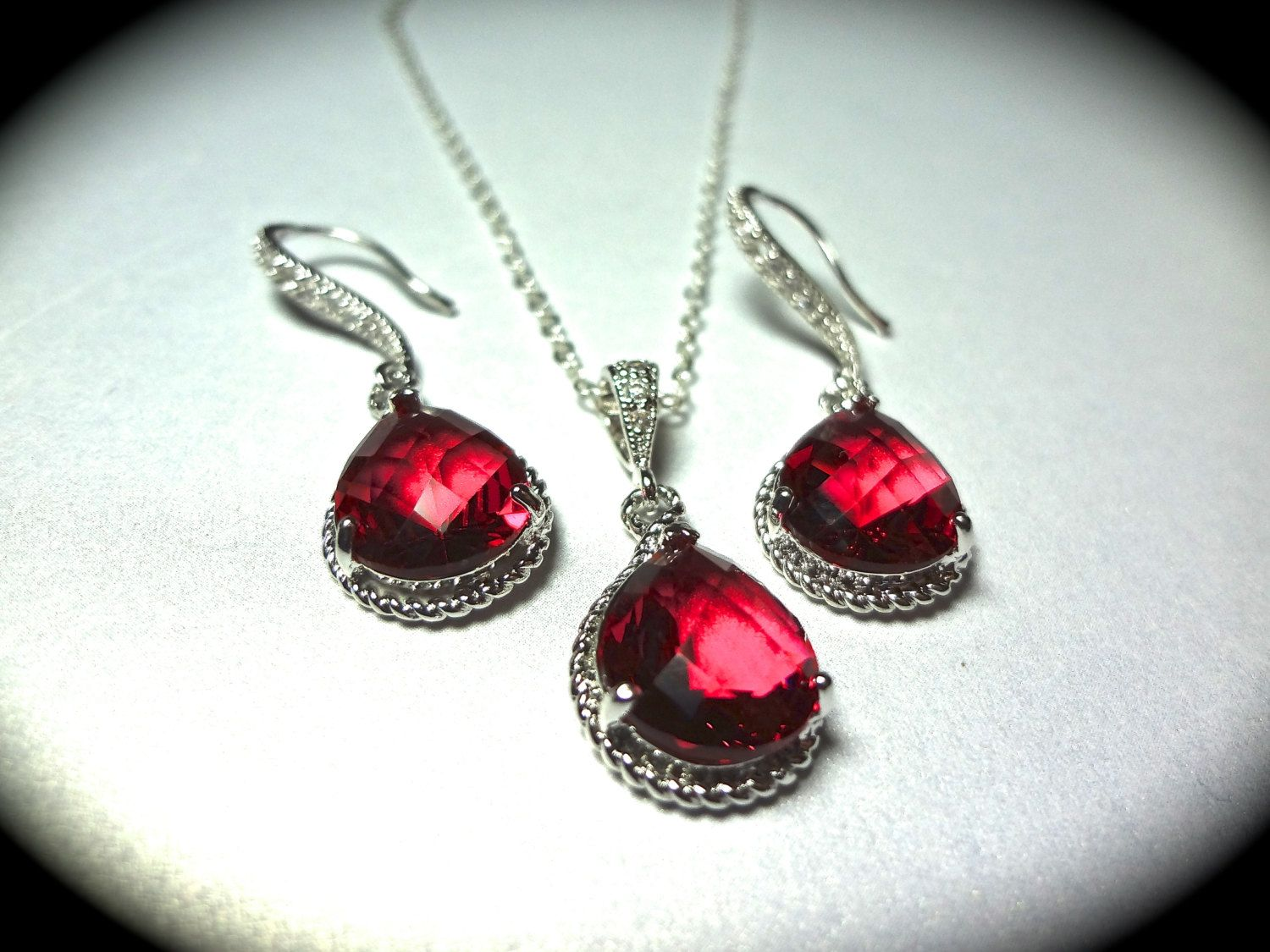 Red Necklace and Earring set - Teardrop set - Sterling Silver - Bridal Jewelry - Bridesmaids - July birthstone - Gift -. $49.99, via Etsy.